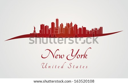 New York skyline in red and gray background in editable vector file - stock vector