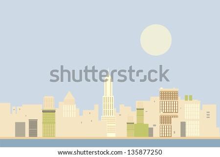 New York skyline in the morning illustration - stock vector
