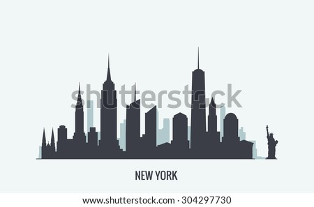 New York skyline silhouette - stock vector