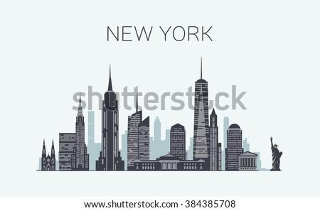 New York skyline silhouette - stock vector