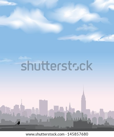 New York Skyline. Vector USA landscape. Cityscape in the early morning. Manhattan Skyline with Empire State Building  - stock vector