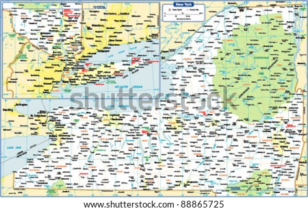 New York State Map - stock vector