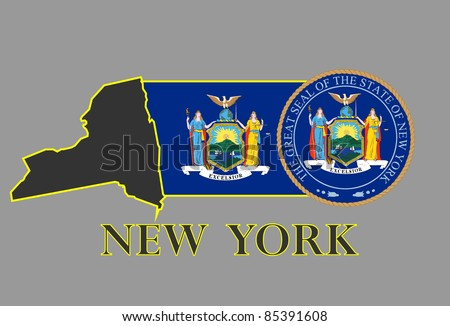 New York state map, flag, seal and name. - stock vector
