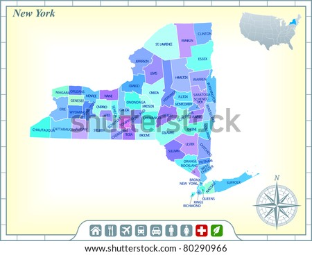 New York State Map Stock Images RoyaltyFree Images Vectors - State map new york