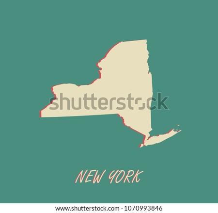 New York State US Map Vector Stock Vector 1070993846 - Shutterstock