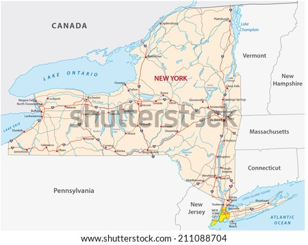 new york state road map - stock vector