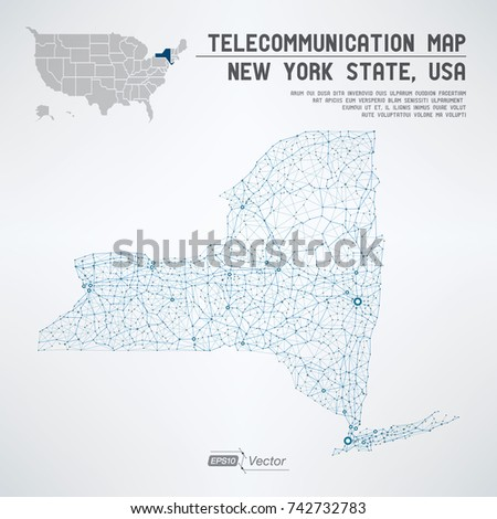 New York State Usa Telecommunication Map Stock Vector 742732783