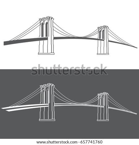 new york symbol brooklyn bridge vector stock vector 657741760 rh shutterstock com brooklyn bridge silhouette vector brooklyn bridge silhouette vector free