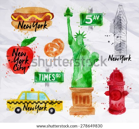 New York symbols watercolor drawing with drops and splash on a crumled paper, pretzel, statue of liberty, red hydrant, 5av. - stock vector