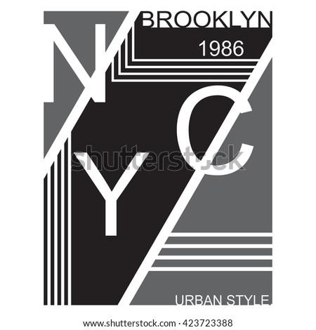 New York T-shirt Typography, Brooklyn, Graphics, Vector Illustration - stock vector