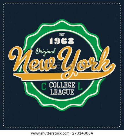 New York - Typographic Design - Classic look ideal for screen print shirt design - stock vector