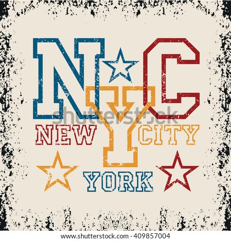 New York typography, t-shirt basketball, vintage graphic, sport emblem, Print label, original clothing