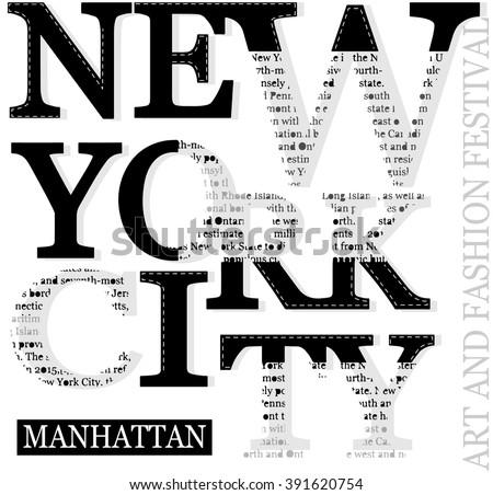 New york typography tee graphic design - stock vector