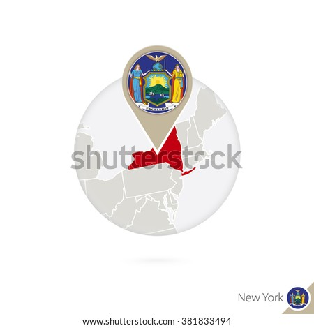 New York US State map and flag in circle. Map of New York, New York flag pin. Map of New York in the style of the globe. Vector Illustration. - stock vector