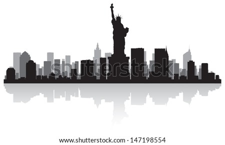 New York USA city skyline silhouette vector illustration - stock vector