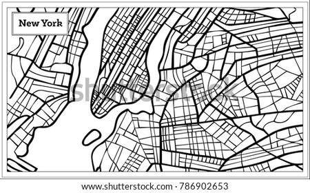 New York Usa Map Black White Stock Vector Shutterstock - Black and white usa map