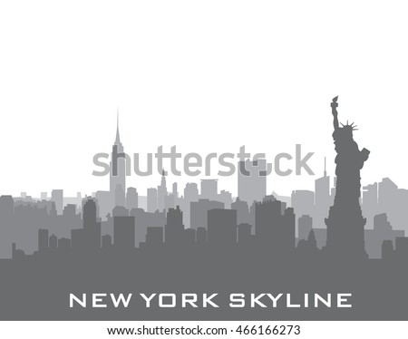 New York, USA skyline background. City silhouette with Liberty monument. American landmarks. Urban  architectural landscape. Cityscape with famous buildings