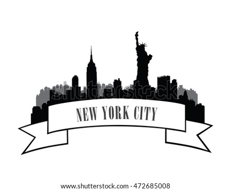 New York, USA skyline label. City silhouette with Liberty statue. American landmarks sign. Urban architectural landscape. Cityscape background with famous buildings