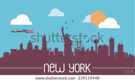 New York USA skyline silhouette flat design vector illustration. - stock vector