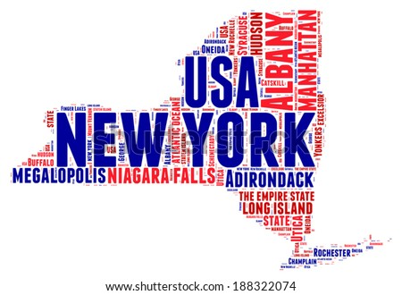 New York USA state map vector tag cloud illustration - stock vector