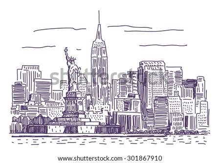 New York vector drawing - stock vector
