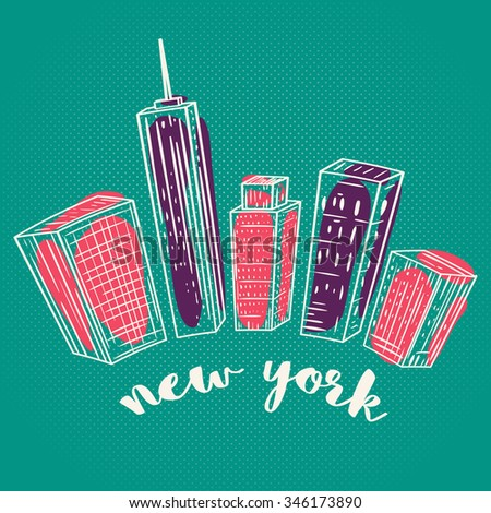 New York. Vintage colorful hand drawn city landscape. Vector illustration in line art style - stock vector