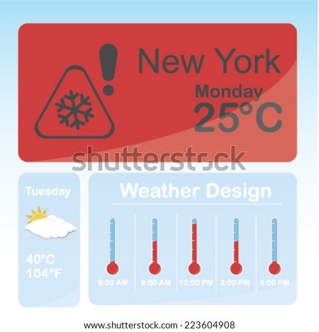 new York weather condition over color background - stock vector