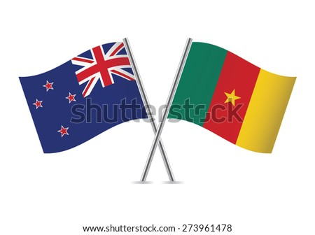 New Zealand and Cameroon flags. Vector illustration.