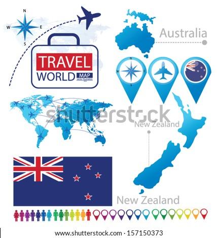 New zealand australia flag world map stock vector hd royalty free new zealand australia flag world map travel vector illustration gumiabroncs Choice Image