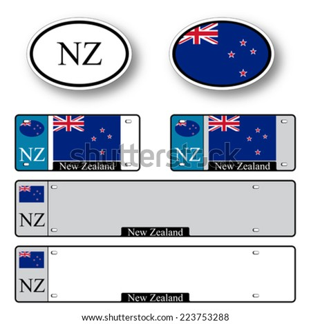 new zealand auto set against white background, abstract vector art illustration, image contains transparency - stock vector
