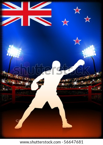 New Zealand Boxing on Stadium Background Original Illustration - stock vector