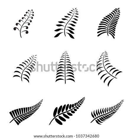 new zealand fern leaf tattoo logo stock vector 1037342680 shutterstock. Black Bedroom Furniture Sets. Home Design Ideas