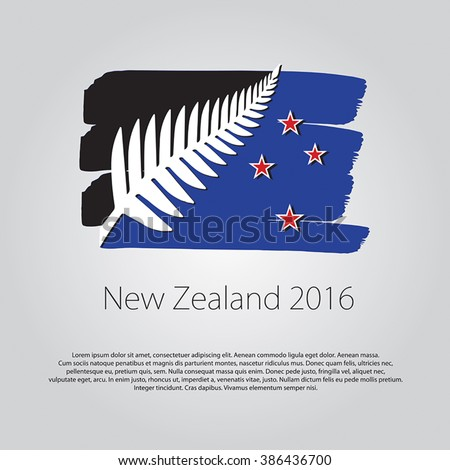 New Zealand 2016. Flag with colored hand drawn lines in Vector Format - stock vector