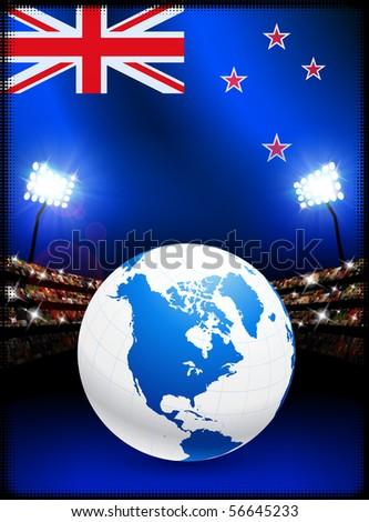 New Zealand Flag with Globe on Stadium Background Original Illustration - stock vector