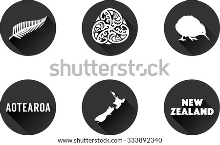 New Zealand  Flat Icon Set. Vector graphic flat icon buttons of landmarks and symbols representing New Zealand.