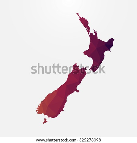 New Zealand in geometric polygonal style.Abstract tessellation,modern design background. Vector illustration EPS10