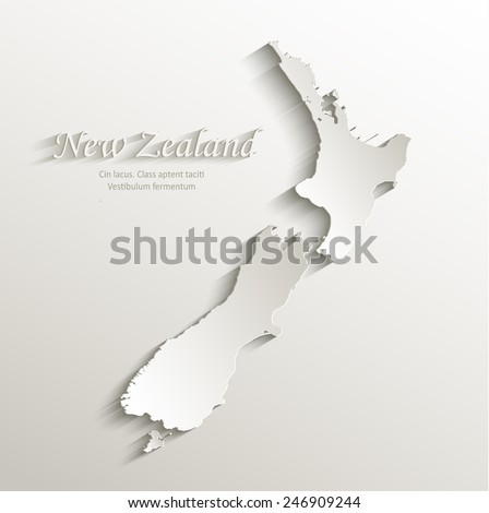 New Zealand map card paper 3D natural vector - stock vector