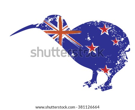 New Zealand national flag - abstract grunge illustration in a shape of a kiwi bird - stock vector