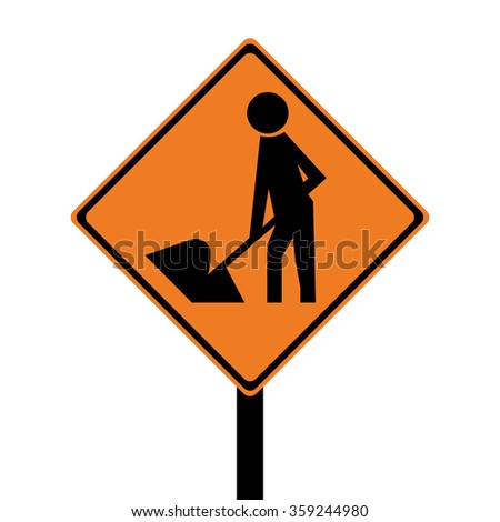 New Zealand Road Works Sign - stock vector