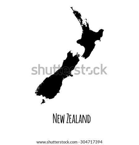 New Zealand vector map black outline map with caption on white background.