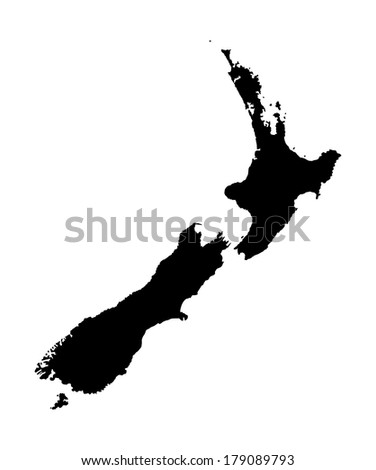 New Zealand vector map high detailed, isolated on white background.