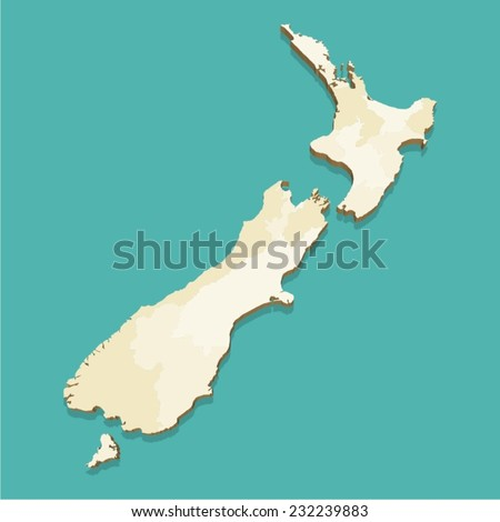 New Zealand Vector Map Three Dimensional