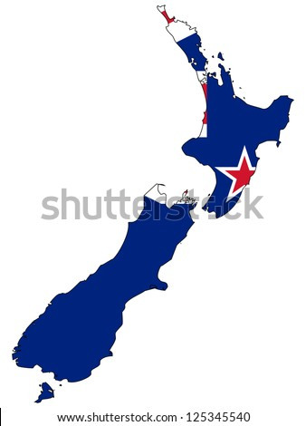New Zealand vector map with the flag inside. - stock vector