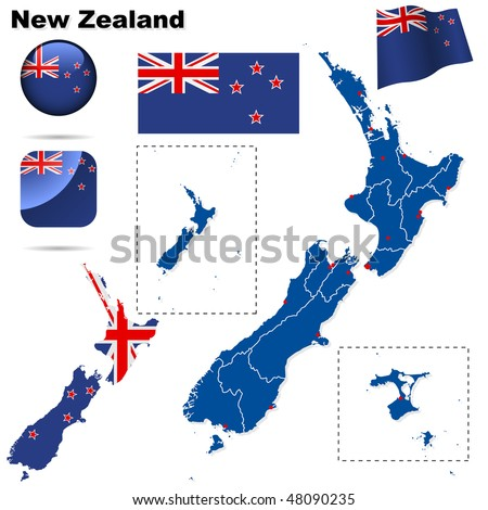 New Zealand vector set. Detailed country shape with region borders, flags and icons isolated on white background. - stock vector