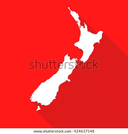 New Zealand white map,border flat simple style with long shadow on red background