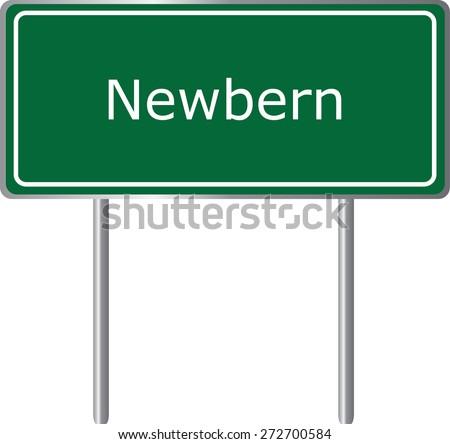 Newbern, Alabama, road sign green vector illustration, road table, USA city - stock vector