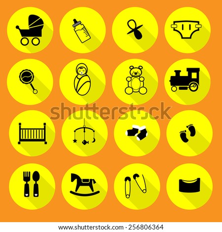 Newborn and baby icons set - stock vector