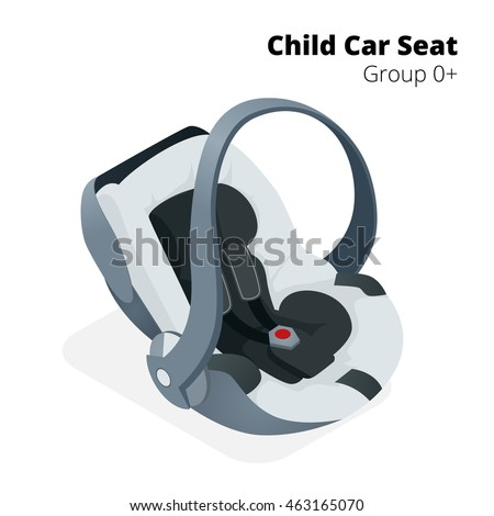Newborn baby Car Seat, isolated on white, isolated on white background. Flat 3d  vector isometric illustration. Car seat group 0+