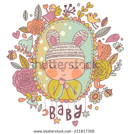 Newborn baby card in bright colors. Stylish shower card with baby boy, flowers, hearts, angel, birds, bees and other holiday elements. Cartoon vector background - stock vector