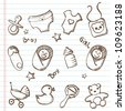 Newborn baby  icons-Doodles - stock vector